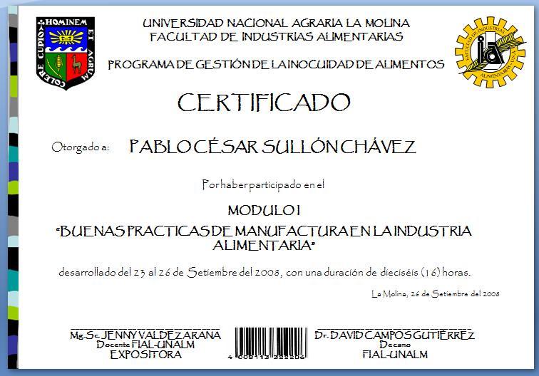 Programa de gesti n de la inocuidad de alimentos unalm - Ejemplo certificado energetico piso ...